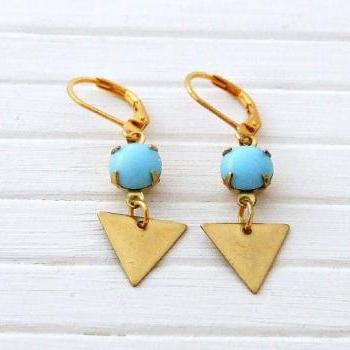 Brass Triangle Earrings with Powder Blue Drops